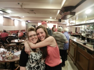 Natasha Douglas, organiser of the Quiz night, gets a hug from sister-in-law Joi (right), to celebrate the success of the FACE fundraiser.
