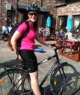 Sinead Greene cycling for Ukhnayo